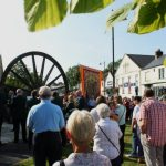 Photograph of people at pit wheel on Gala Day in Coxhoe
