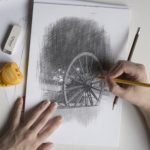 Photograph of pit wheel drawing by a great artist