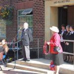 Photograph of speech by an official guest