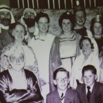 Old photograph with nativity adults