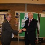 Photograph of County Council Chairman and Leisure Centre Chair handing over keys