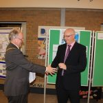 Photograph of County Council Chairman and Leisure Centre Chair exchanging keys