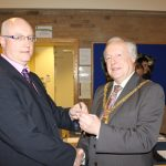 Photograph of formal handover from County Council chairman to Leisure Centre Chairman