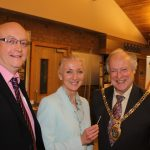 Photograph of formal handover from County Council chairman to Leisure Centre Chairman and Leisure Centre Manager