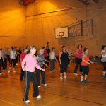 Photograph of Zumba participants at the hall