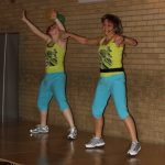 Photograph of Zumba instructors giving it loads