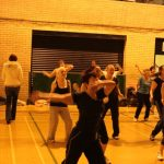 Photograph of Zumba participants arm out