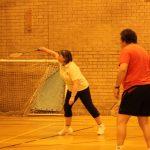 Photograph of people playing badmington over net