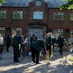 Photograph of people outside village hall in 204