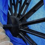 Photograph of spokes of covered wheel