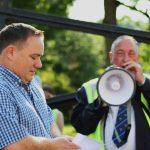 Photograph of Parish chair p chair giving speech