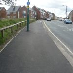 Photograph of cycle path coming into coxhoe from North