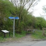 Photograph of interpretation board and sign at Kelloe
