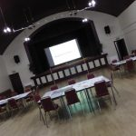 Photograph of Village Hall ready for event taken at angle