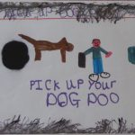 Photograph of poster asking people to clean up after their dogs in Coxhoe by young person