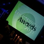 Photograph of Environmnent awards presentation title at angle