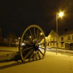Photograph of the incredible pitwheel with front street in the snow