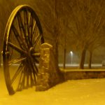 Photograph taken from rear of pit wheel in the snow