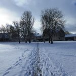 Photograph of footpath with footprintssnow
