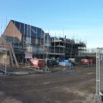 Photograph of houses under construction which ere occuped shortly after