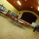 Photograph of exhibition at Coxhoe Village Hall before start of event