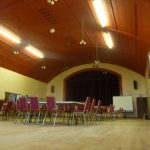 Photograph of exhibition at Coxhoe Village Hall from ground level