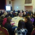 Photofraph of parish planning participants at work in groups