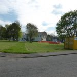 Photograph of village green with works progressing in 2014