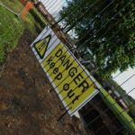 Photograph of danger keep out sign