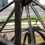 Photograph of pitwheel being lowered to site in close up