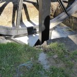Photograph of pitwheel being fixed to site
