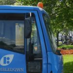 Photograph of lorry in close up, its blue