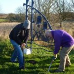 Photograph of former members of Coxhoe Community Partnership digging
