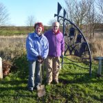 Margaret and john posing after bulb planting