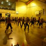 Photograph of Zumba participants. working extremely hard