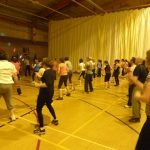 Photograph of Zumba participants getting down with the music