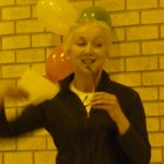 Photograph of Centre Manager with ballons