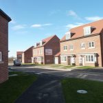 Photograph of more new houses completed in light and shade