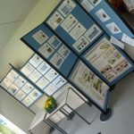 Photographs of display boards and exhibition materials in 2011 at an angle