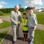 Photograph of Chairman with successful walkers Ben and Lucas Duncan