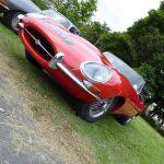 Photograph of red Jaguar on angle