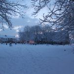 Photograph of snowy churchyard