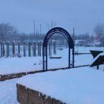 Photograph of snowy memorial garden