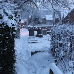 Photograph of snow in St Mary's churchyard