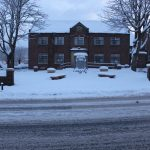 Photograph of Coxhoe Village Hall with snow at dusk