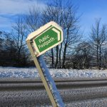 Photograph of leaning footpath sign