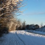 Photograph of snow on road between Coxhoe and Quarrington hill