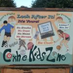 Photograph of kids zone sign