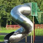Photograph of shiney metal slide