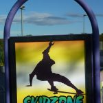 Photograph of Skidzone sign at dusk